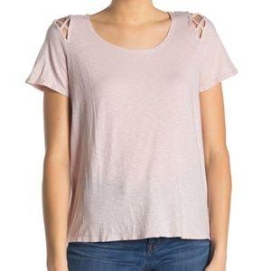 Michael Stars Crew Neck Cutout T-Shirt Whisper OS